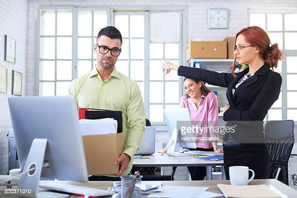 Fired man leaving the office