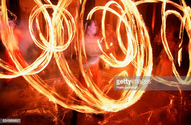 Fireeaters perform for partygoers at the 20000 square foot Lunatarium warehouse space in Brooklyn's Dumbo neighborhood Photo by Mark Peterson/Corbis...