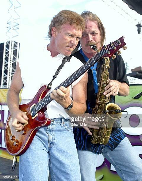 Firefall singer/guitarist Steve Weinmeister and saxophonist David Muse perform at Lite 1005 FM's Sparks in the Park A Tribute to Americans event at...
