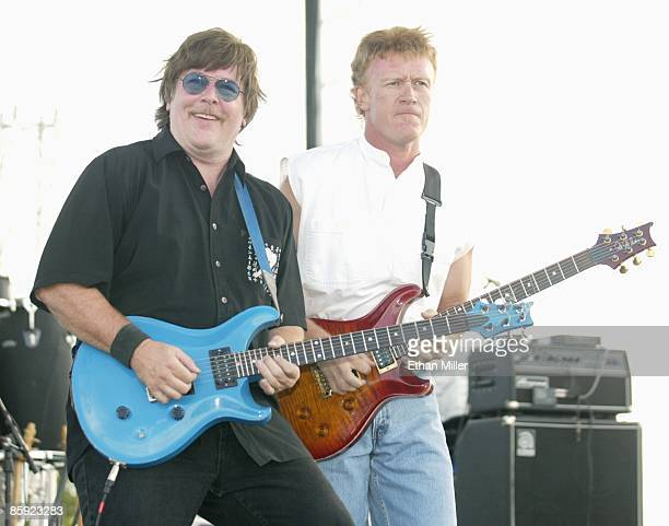 Firefall singer/guitarists Jock Bartley and Steve Weinmeister perform at Lite 1005 FM's Sparks in the Park A Tribute to Americans event at the Sam...