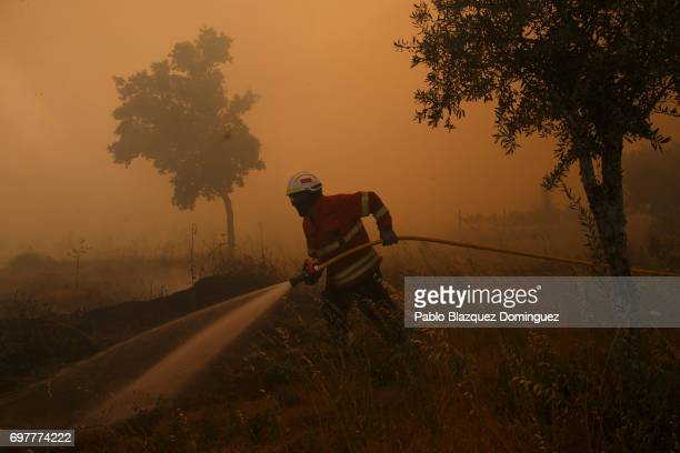 Firefighter battles a fire after a wildfire took dozens of lives on June 19, 2017 in small village near Pedrogao Grande, in Leiria district,...