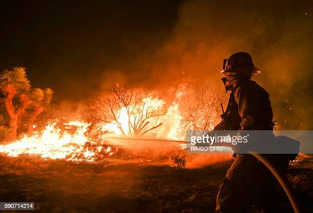 A firefighter battles the Blue Cut wildfire near Cajon Pass north of San Bernardino California on August 16 2016 A rapidly spreading fire raging east...