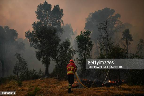 Firefighter combats a wildfire in Capelo, Gois, on June 20, 2017. The huge forest fire that erupted on June 17, 2017 in central Portugal killed at...