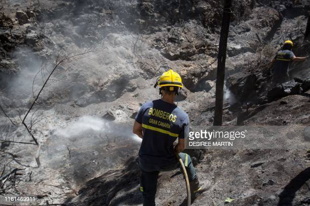 A firefighter douses an area affected by wildfires in Gran Canaria on the Spanish Canary Islands on August 13 2019 Firefighters have managed to...