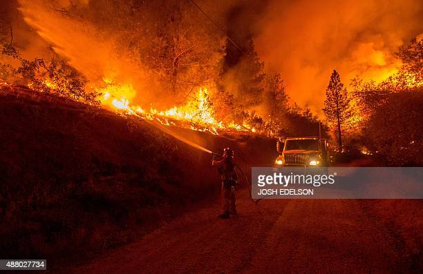 A firefighter douses flames from a backfire while battling the Butte fire near San Andreas California on September 12 2015 Wildfires have spread...