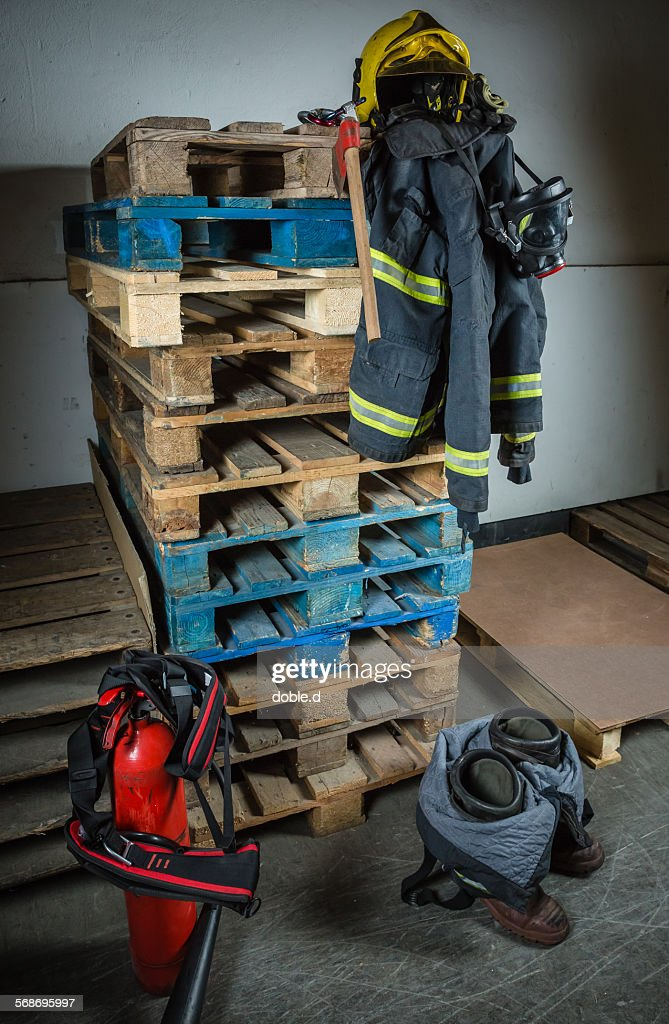 Firefighter equipment ready for intervention : Foto de stock