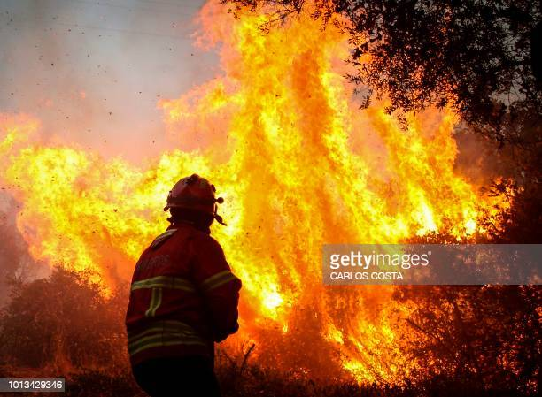 Firefighter fights flames during a wildfire close to Monchique in the Portuguese Algarve, on August 8, 2018. - Wildfires scorched across Portugal's...