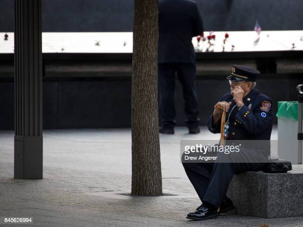 A firefighter from Long Island attends a commemoration ceremony for the victims of the September 11 terrorist attacks at the National September 11...