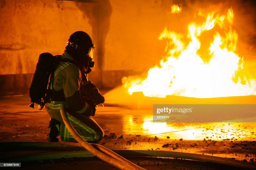 Firefighter holding hose and spraying water : Stock Photo