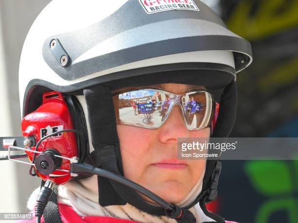 Firefighter in the Garage during practice for the Monster Energy Cup Series Folds of Honor Quiktrip 500 on February 23 at Atlanta Motor Speedway in...