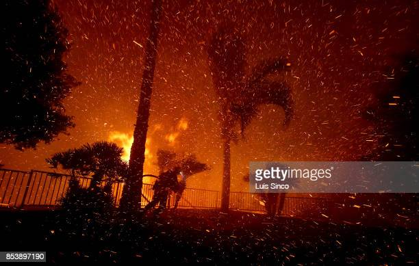 A firefighter is enveloped in smoke and embers while battling the Canyon Fire on September 25 2017 in Corona California The fire charred about 2000...