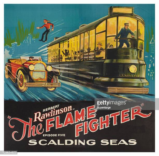 Firefighter jumps from trolley onto a speeding car on a poster that advertises the movie 'Flame Fighter Scalding Seas' 1925