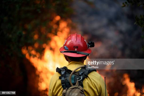 A firefighter keeps watch as the Thomas wildfire burns near Carpinteria California on December 11 2017 The fire destroyed hundreds of homes and...