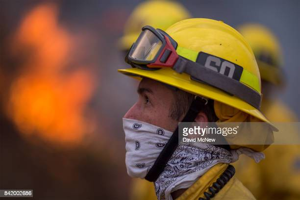 A firefighter looks up at flames during the La Tuna Fire on September 2 2017 near Burbank California Los Angeles Mayor Eric Garcetti said at a news...