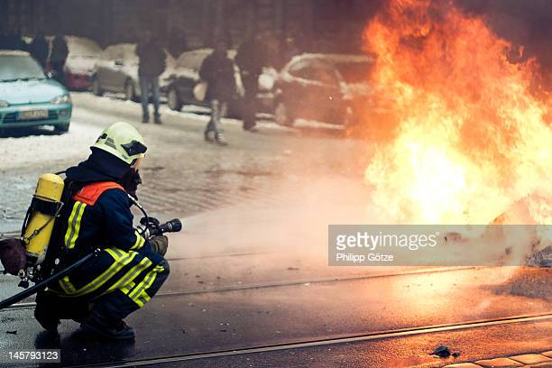 Firefighter on street