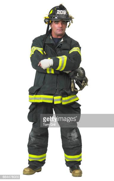 firefighter - fire protection suit stock photos and pictures