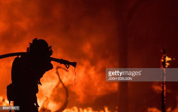 TOPSHOT A firefighter pulls a hose in front of a burning house in the Napa wine region of California on October 9 as multiple winddriven fires...