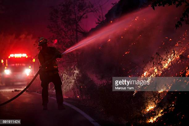 A firefighter puts out flames creeping too close to the road as the Blue Cut fire burning alongside Lytle Creek Road in San Bernardino County Calif...