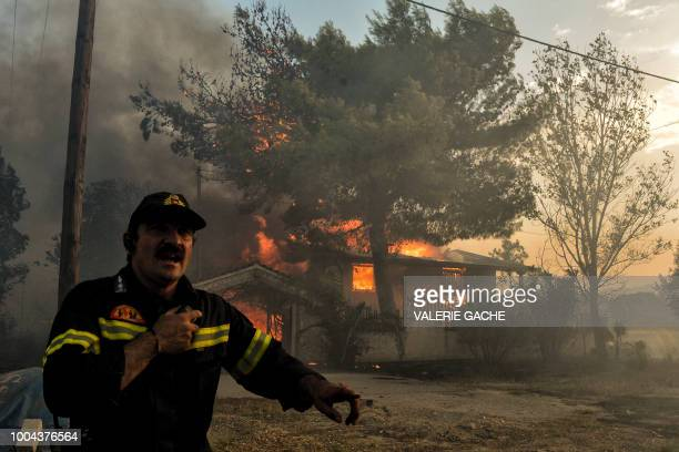 A firefighter reacts as a house burns during a wildfire in Kineta near Athens on July 23 2018 More than 300 firefighters five aircraft and two...