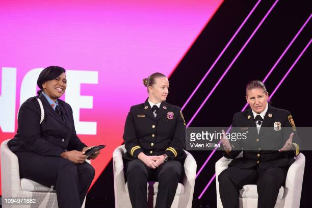 Firefighter Regina Wilson, Battalion Chief, LAFD Kristina Kepner and Deputy Chief, LAFD Kristin Crowley speak onstage during The 2019 MAKERS...