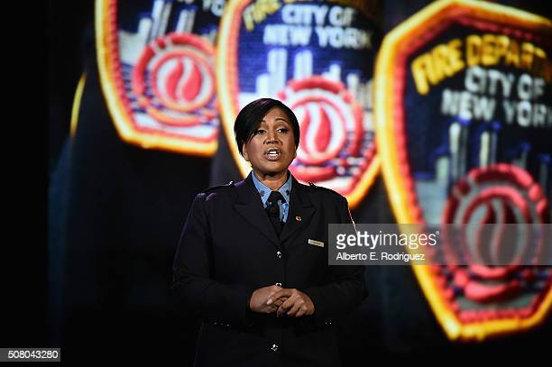 FDNY Firefighter Regina Wilson speaks at the AOL 2016 MAKERS conference at Terranea Resort on February 2 2016 in Rancho Palos Verdes California