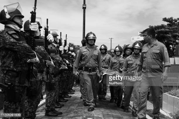 Image was converted to black and white) Firefighter Rogerio de Moraes Santos funeral at Cemiterio Saudade e Funeraria Municipal Vila Julia in...