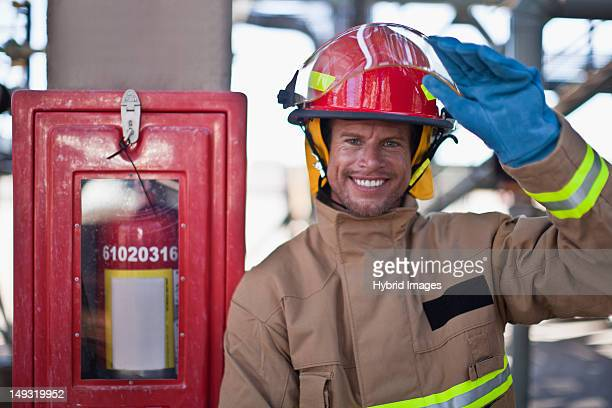 Firefighter smiling on site