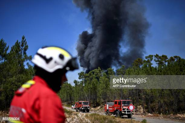 A firefighter stands in front of a column of smoke during a wildfire at Vale Formoso village in Sardoal on August 17 2017 / AFP PHOTO / PATRICIA DE...