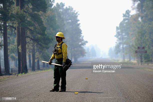 Firefighter Tracy Wright from the Surprise Fire Depatrment of Arizona stands on the highway leading to Greer on June 11 2011 in Greer Arizona A red...