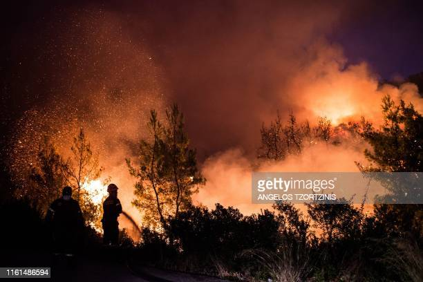 A firefighter tries to extinguish a wildfire near the village of Makrimalli on the island of Evia northeast of Athens on August 13 2019 Hundreds of...