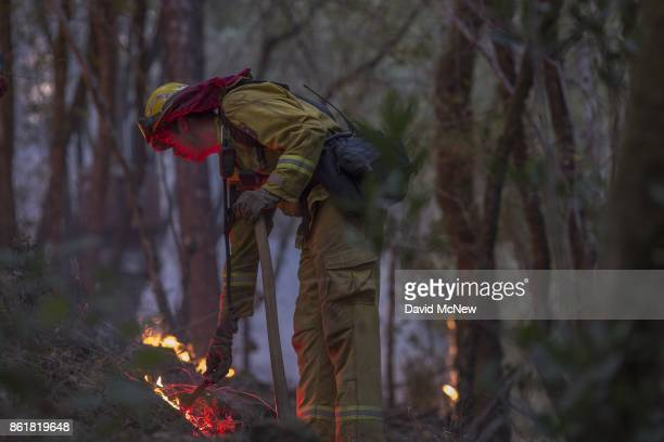 Firefighter uses a drip torch to set a backfire to protect houses in Adobe Canyon during the Nuns Fire on October 15, 2017 near Santa Rosa,...