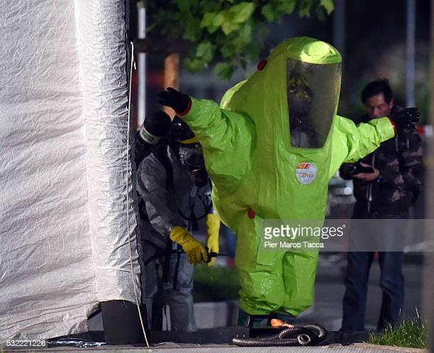 A firefighter wearing a hazmat suit takes part in the simulation of a terrorist attack in a subway station on May 18 2016 in Milan Italy Emergency...