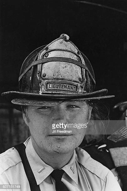 A firefighter with 'Lieutenant' on his helmet USA circa 1980