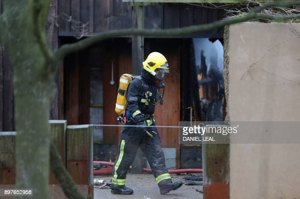 A firefighter works to control a fire at London Zoo in London on December 23 2017 An aardvark died and four meerkats were missing Saturday following...