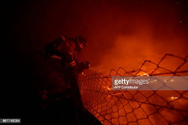Firefighters and civilians attempt to subdue wildfire flames in Vigo northwestern Spain October 15 2017 Hundreds of firefighters struggled on October...