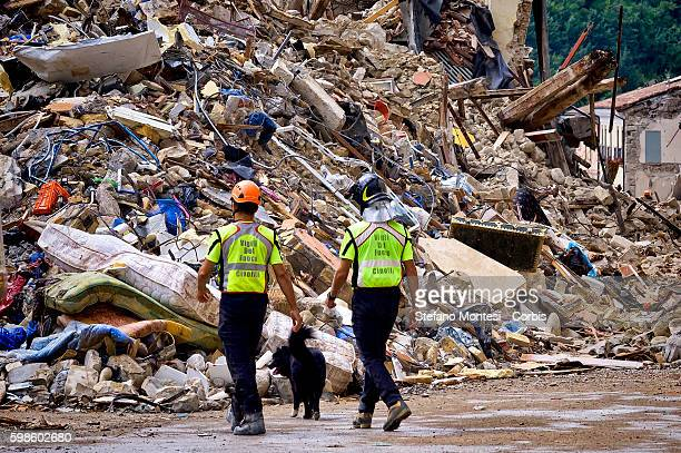 Firefighters and emergency rescuers with their dogs inspect the rubble and debris in the damaged in Amatrice , central Italy on August 30, 2016...