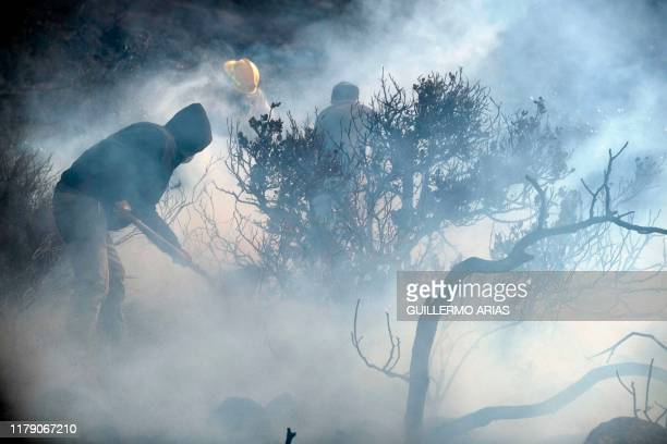Firefighters and neighbors work on a brush fire fueled by Sant Ana winds in Plaza Santa Maria south Rosarito Beach, in Baja California state, Mexico,...