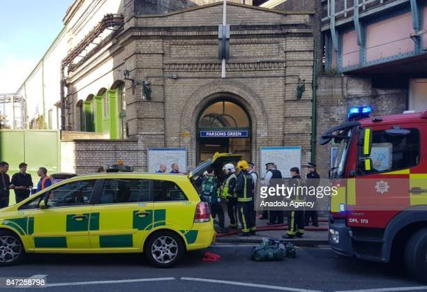 Firefighters arrive at Parsons Green Tube Station after an explosion in London United Kingdom on September 15 2017