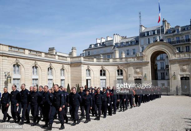 Firefighters arrive at the Elysee Presidential Palace for a meeting with French President Emmanuel Macron on April 18 2019 in Paris France Emmanuel...