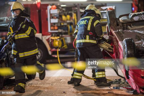 "Firefighters at accident""n"