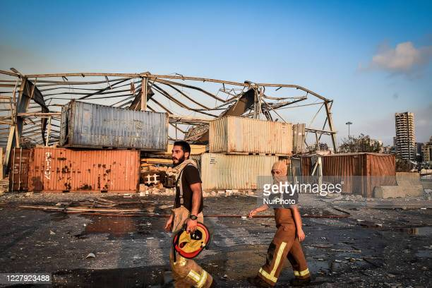 Firefighters at the port after the explosion on August 4, 2020 in Beirut, Lebanon. According to the Lebanese Red Cross, at the moment over 100 people...