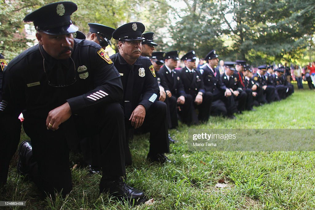 Firefighters attend a memorial service for firefighters killed on 9/11 at the Firemen's Monument at Riverside Park on September 11, 2011 in New York City. Firefighters from around the world have converged on New York to take part in the anniversary services. New York City and the nation are commemorating the tenth anniversary of the terrorist attacks which resulted in the deaths of nearly 3,000 people after two hijacked planes crashed into the World Trade Center, one into the Pentagon in Arlington, Virginia and one crash landed in Shanksville, Pennsylvania