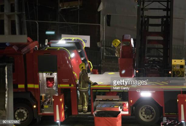 Firefighters attend the scene of a blaze that they extinguished at the University of Bristol on January 6 2018 in Bristol England A large blaze in a...