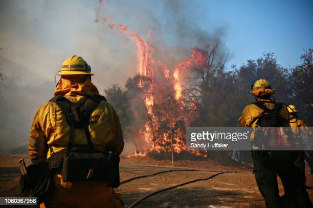 Firefighters battle a blaze at the Salvation Army Camp on November 10 2018 in Malibu California The Woolsey fire has burned over 70000 acres and has...