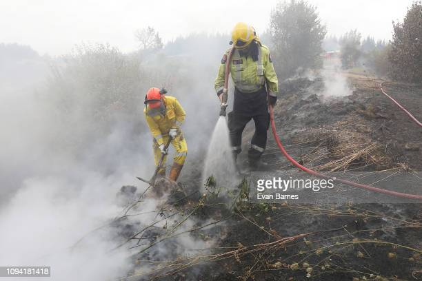 Firefighters battle a blaze threatening a house as residents in 170 homes were evacuated from the area in the Tasman district February 6, 2019 in...