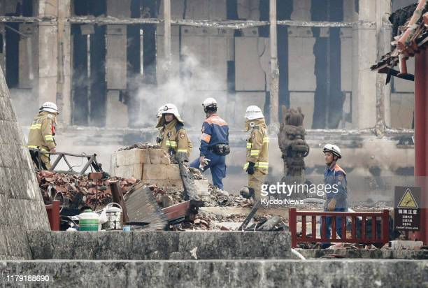 Firefighters battle the flames at Shuri Castle in Naha Okinawa Prefecture southern Japan on Oct 31 2019