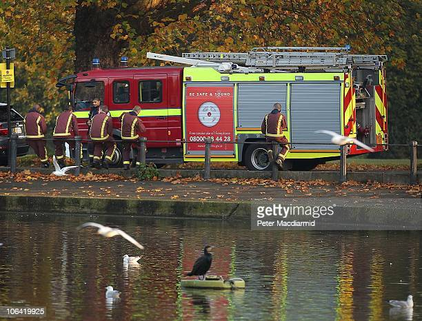 Firefighters believed to be nonunion workers stand by a fire appliance on Clapham Common on November 1 2010 in London England More than 5000 of...