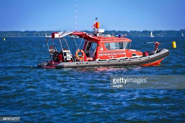 Firefighters boat on patrol