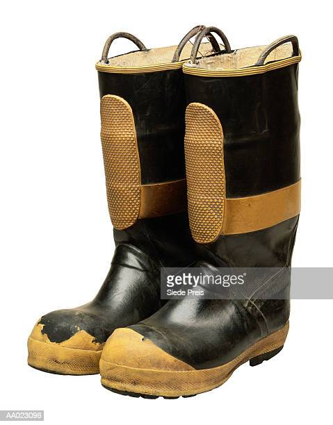 firefighter's boots - boot stock pictures, royalty-free photos & images