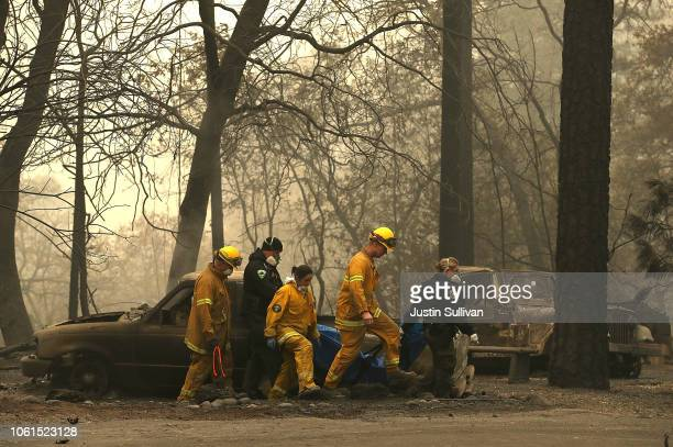 Firefighters carry a body bag with human remains that were discovered at a mobile home park that was destroyed by the Camp Fire on November 14 2018...